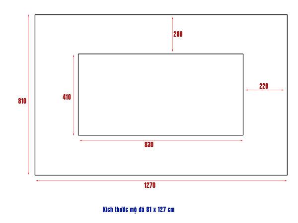 Kích thước mộ đá 81 x 127 cm