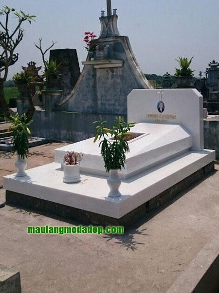 Mẫu mộ đá trắng LD 05